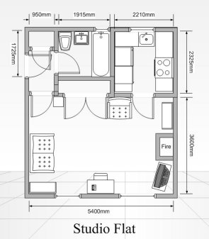 One bedroom studio apartment floor plans find house plans for Photography studio floor plans